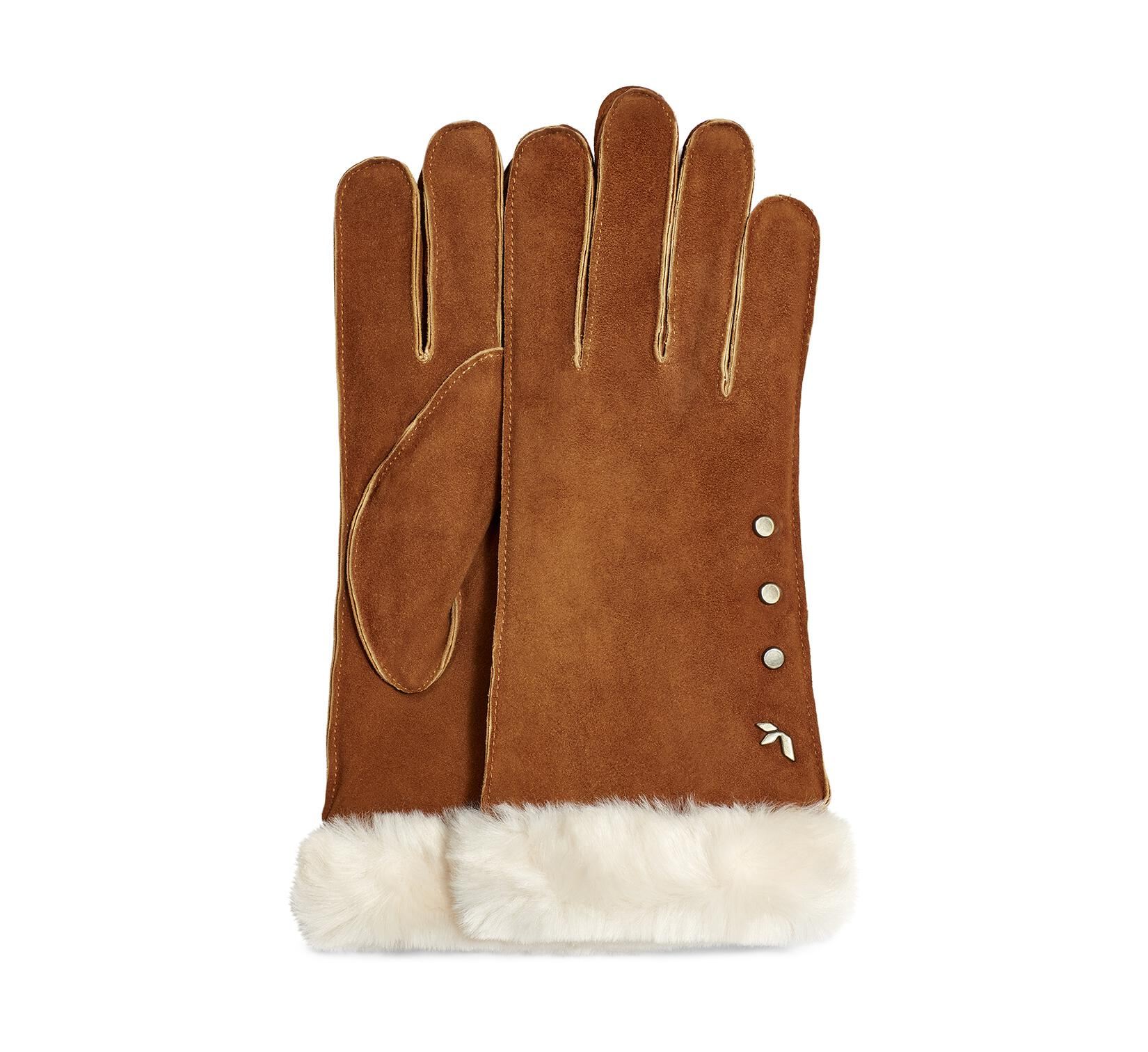 Studded Glove with Faux Fur Cuff