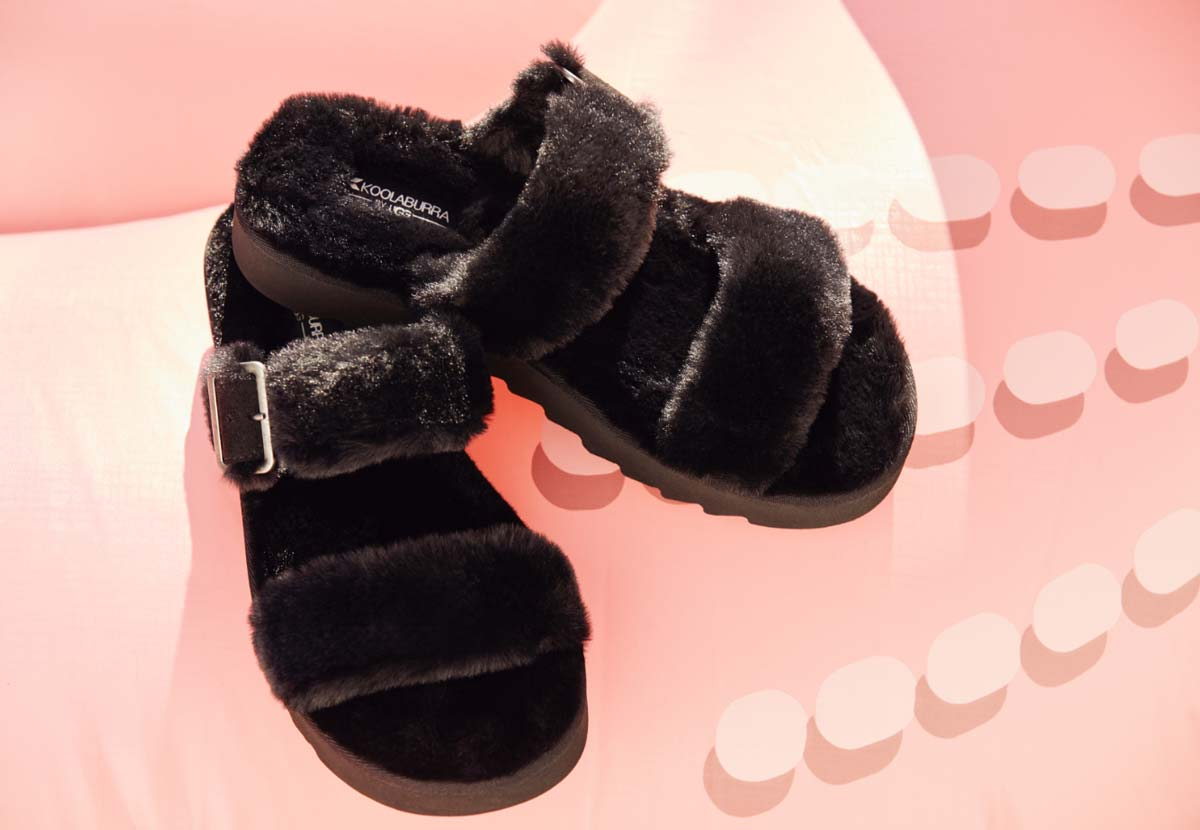 Close up of the Furr-ah sandals in black.